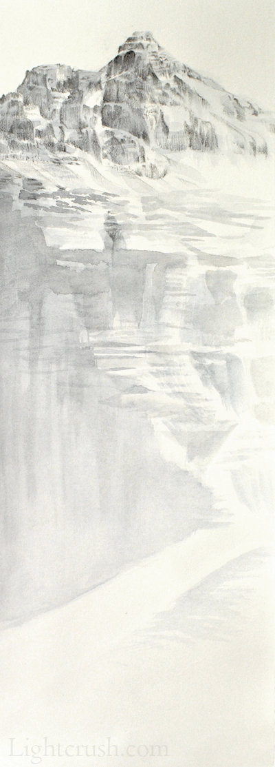 Height of the Rockies - Watercolour and Graphite on paper - 9.5x28.5cm - 2015